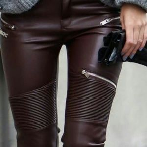 Zara Pants Faux Leather Biker Zip Trousers Poshmark