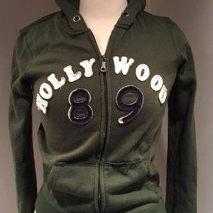 Cozy Hunter green sweatshirt jacket