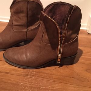 Brown faux leather western booties
