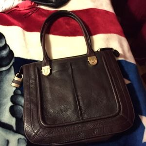 Halogen brown leather tote