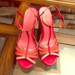 Christian Siriano Shoes - Christian Siriano coral pink wedge sandals size 6