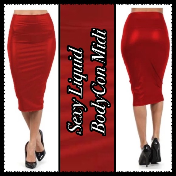 fd63dc0acb Boutique Skirts | Blazin Red Wet Look Midi Skirt | Poshmark