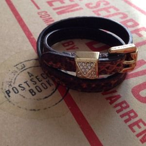 Michael Kors brown snakeskin print wrap bracelet