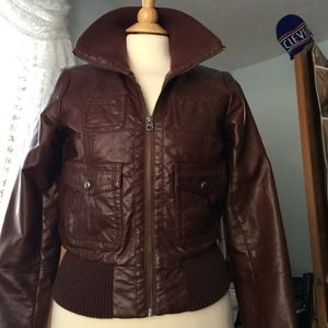 H&M brown faux leather bomber jacket