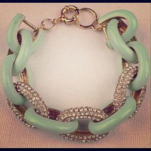 Mint Crystal Enamel Link Bracelet