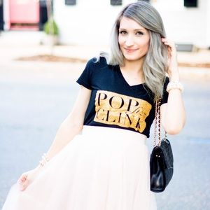 Pop Fizz Clink Glitter Graphic Tee