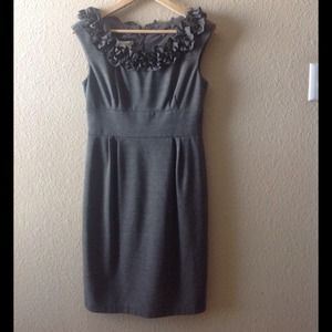 Gorgeous, heather gray dress with ruffled neckline