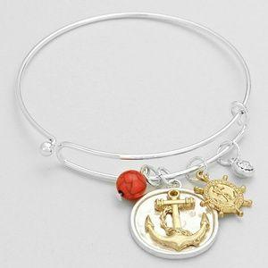 Anchor Coin Bangle Bracelet