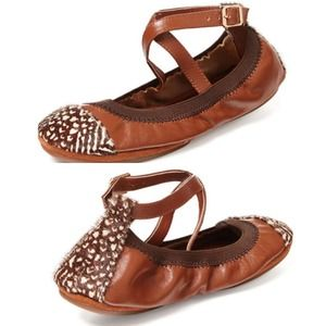 Two-Tone Brown/Cognac Leather + Calf Hair Flats