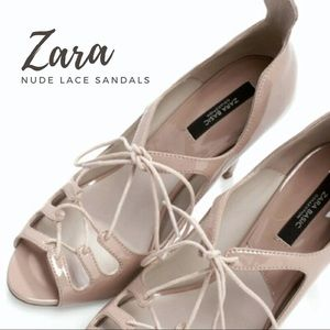 Host PickZara Nude Lace-Up Sandals
