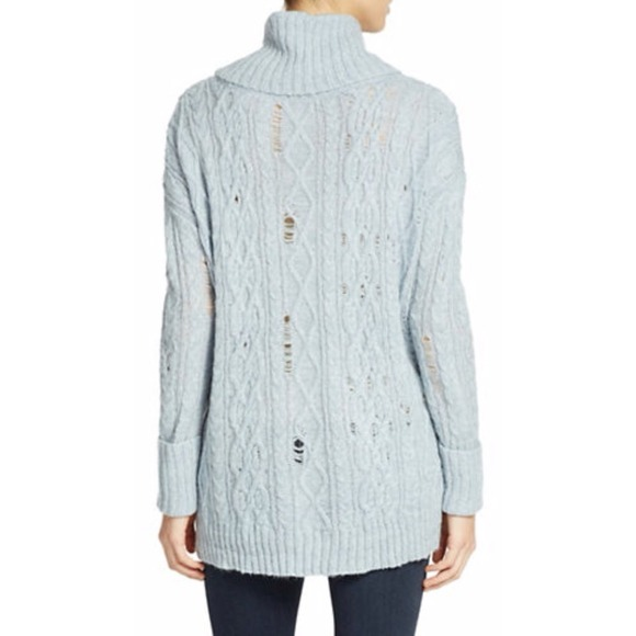 65% off Free People Sweaters - Light blue destructed turtleneck ...