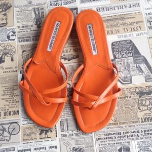 Manolo Blahnik Orange Leather Sandals