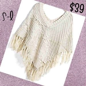 Outerwear - White fringe shaw