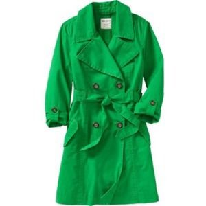 Kelly Green Converter Sleeve Trench Coat Jacket