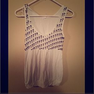 White long tank top or dress with beaded top.