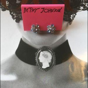 Betsey Johnson Blue Rhinestone Earrings