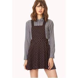 Burgundy Polka Dot Overall Dress