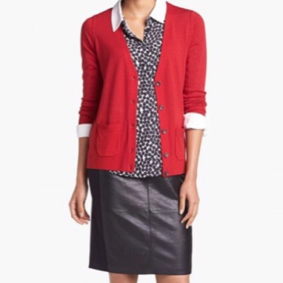 Halogen - Red Nordstrom Merino Wool Cardigan w/Pockets - S from ...