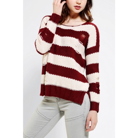 41% off Urban Outfitters Sweaters - UO Olive & oak maroon stripes ...