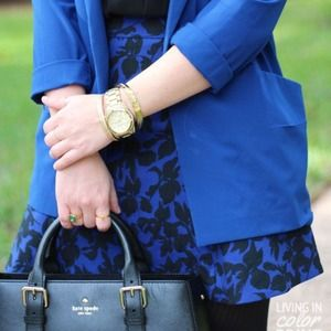 Express Dresses & Skirts - REDUCED ✔️Cobalt + Black Brocade Skirt