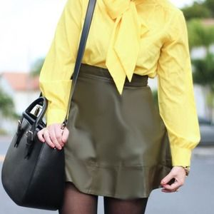 Olive Green Leather Skater Skirt