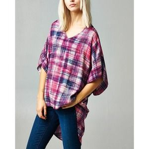 """Plaid Memory"" High Low Loose Fitting Top"