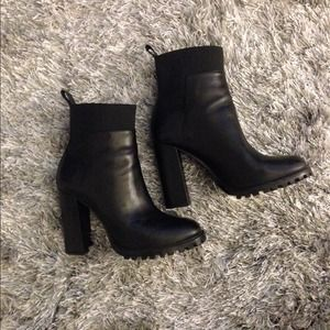 Zara Black Leather Ankle Boots NWOT