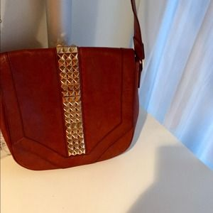 94109e053f9 Tory Burch Bags - Tory Burch Cognac Leather Studded Messenger Bag