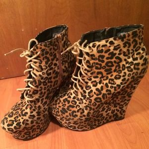 New! Leopard Tan Wedge Lace up BOOties!