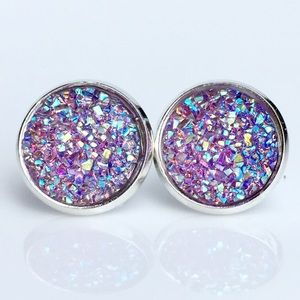 thejeweladdict Jewelry - 3 for 15🎀 light purple Flat Druzy style earrings