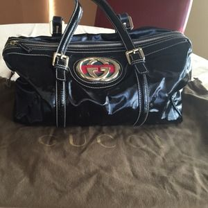 Gucci Britt Boston Black Medium Doctor Bag