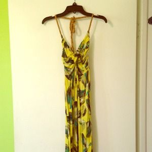 Fabulous T-Bags Maxi Feather Yellow Print Rope