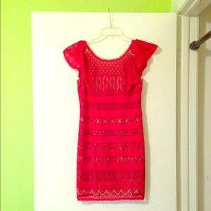 NWT BCBGmaxazria red Scarlet Lace Dress Nude Lacy