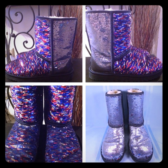 5f6eebc40cf VERY RARE COLOR💯UGG Sparkle Silver/Red/Blue Boots NWT