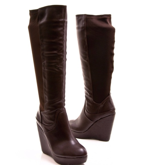8397d360712 Brown Faux Leather Stretch Wedge Boots