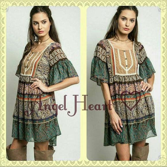 Plus size Camel boho dress NWT