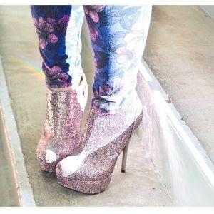 Pink Purple Glitter Booties