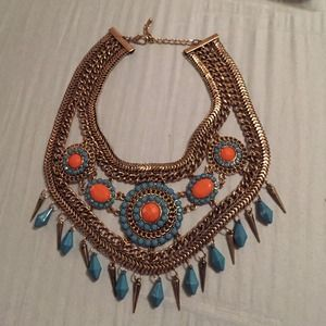 Teal and Orange statement necklace