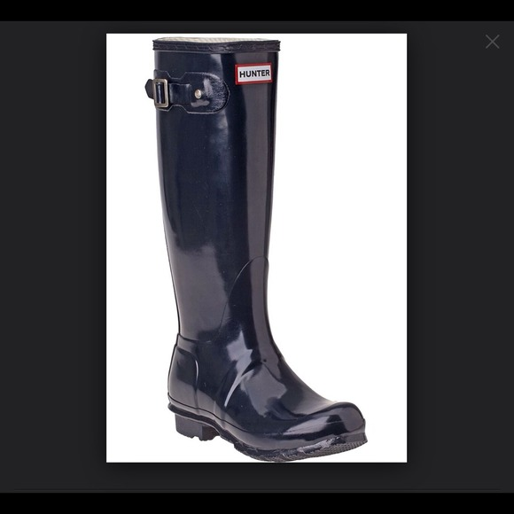 22% off Hunter Shoes - NEW Hunter Boots Navy Blue Gloss $150 or ...