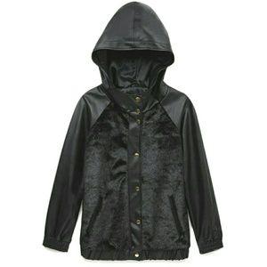 Black Faux Fur Hooded Varsity Jacket