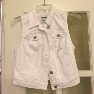 Old Navy Jackets & Blazers - White denim vest