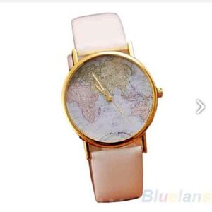 World map watch white