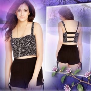 CALICO STRAP-BACK BUSTIER TOP