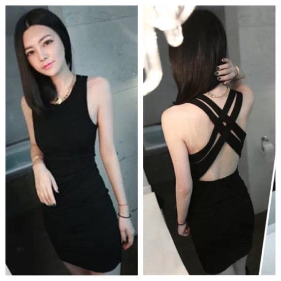 Forever 21 Dresses Black Dress With Criss Cross Back Lbd Poshmark