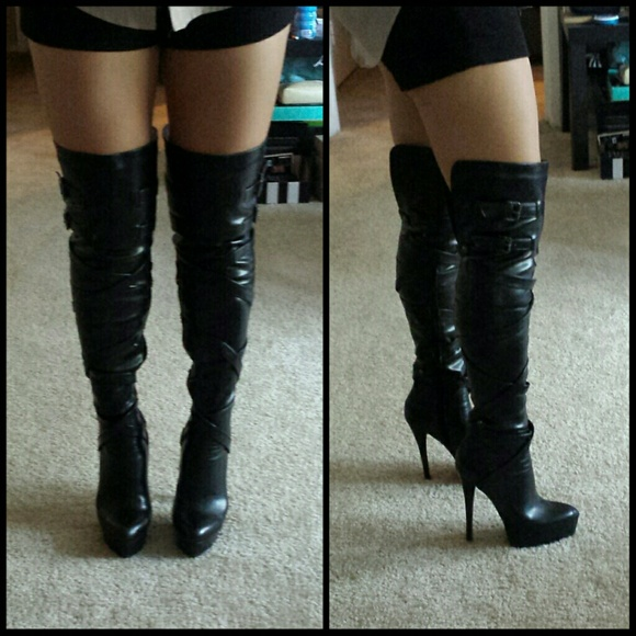 70% off bebe Boots - SALE!!! Bebe Black Thigh High Boots from ...