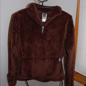 NORTH FACE BROWN FUZZY PULL OVER SIZE M