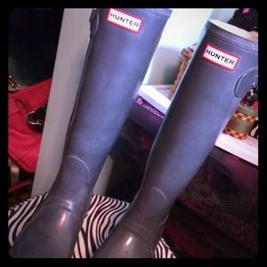 Original tall glossy Hunter rain boots