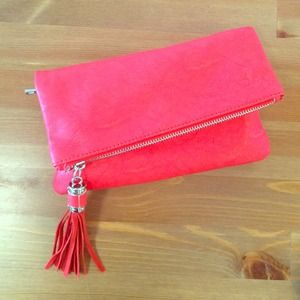 Handbags - Faux leather red gold over clutch ❤️