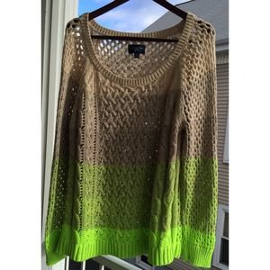 American Eagle Beige to Green Ombré Sweater