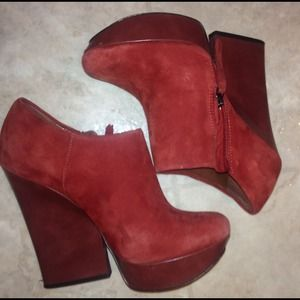 Boutique 9 red suede ankle boots